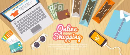 Colorido banner plano de vector de compras para su negocio, sitios web, etc. Ilustraciones, elementos y concepto de diseño de calidad. Las compras en línea. Comprar en linea. Entrega. Ilustración de vector