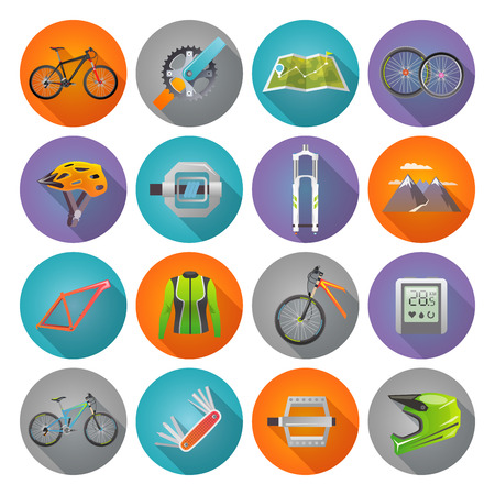 biking: Modern flat icons set. Mountain bike. Set 3 Illustration