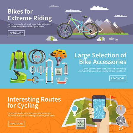 テーマにカラフルなフラット ベクトル バナーの美しいセット: マウンテン バイク, 自転車店, サイクリング ルートします。すべての項目は、特に驚  イラスト・ベクター素材