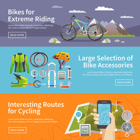 mountain biking: Beautiful set of colorful flat vector banners on the theme: mountain biking, bike store, routes for cycling. All items are created with love especially for your amazing projects.