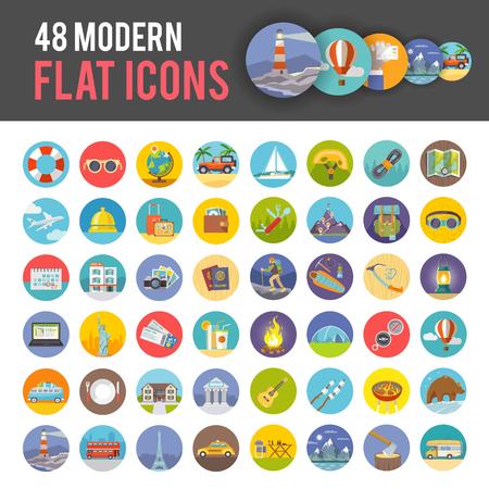 Velká sada moderních barevných bytu vektorových ikon na témata: cestování, dovolené, horolezectví, táboření. Všechny položky jsou vytvářeny s láskou speciálně pro vaše úžasné projekty.