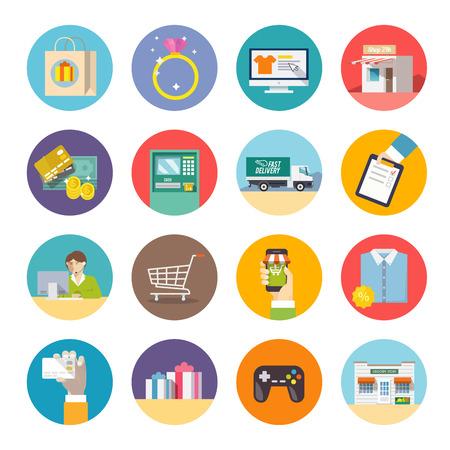 mujer en el supermercado: Iconos planos modernos. Compras. Las compras en línea. Entrega. Vectores