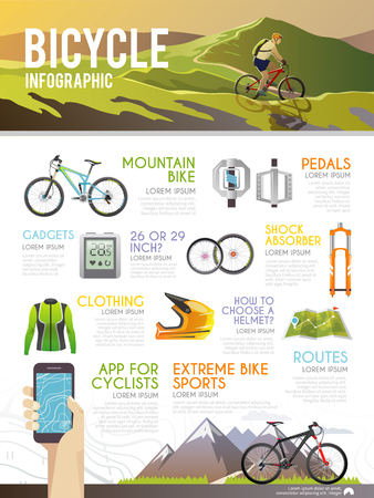 bicycle pedal: Colourful bicycle vector infographic. The concept of infographic for your business, web sites, presentations, advertising etc. Quality design illustrations, elements and concept. Flat style.