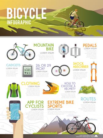 Kolorowe infografika wektorowych rowerów. Koncepcja infografika dla swojej firmy, strony internetowe, prezentacje, reklamy itp jakości projektowania ilustracji, elementów i koncepcji. Płaski stylu.