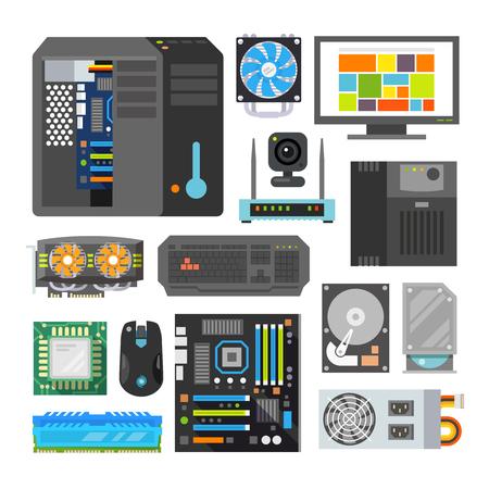 현대 평면 아이콘을 설정합니다. PC의 구성 요소. 컴퓨터 가게. 데스크탑 컴퓨터를 조립.