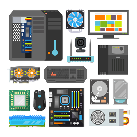 carnero: Iconos planos modernos establecen. Componentes de PC. Tienda de computadoras. Montaje de una computadora de escritorio. Vectores