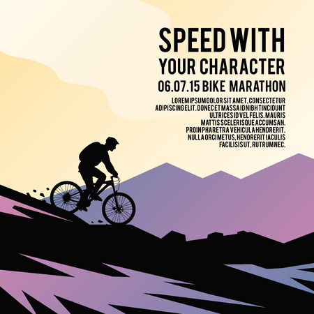 exercise bike: Colorful vector poster. Quality design illustrations, elements and concept. Mountain biking.
