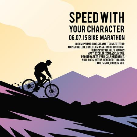 Poster vettoriale colorato. Illustrazioni, elementi e concetti di design di qualità. Andare in mountain bike.