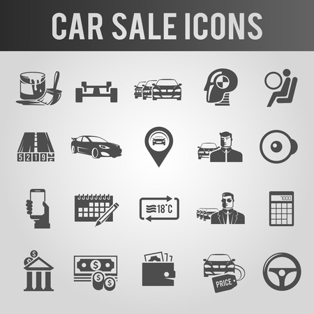 dealer: Simple black icons set. Car sale. Set 1