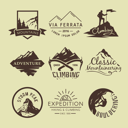 outdoor: Set labels on the theme of Climbing, Trekking, Hiking, Mountaineering. Extreme sports, outdoor recreation, adventure in the mountains, vacation. Achievement