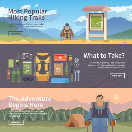 caminando: Conjunto de banderas planas vector web sobre el tema de la Escalada, Trekking, Senderismo, Caminar. Deportes, recreación al aire libre, aventuras en la naturaleza, las vacaciones. Diseño plano Moderno.
