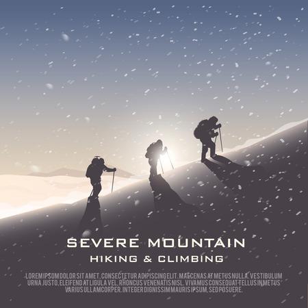 登山、トレッキング、ハイキング、登山のテーマの背景をベクトルします。極端なスポーツ、アウトドア、冒険休暇、山の中。達成。アルプス