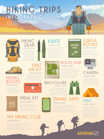 Vector infographics on the theme of Climbing, Trekking, Hiking, Walking. Sports, outdoor recreation, adventures in nature, vacation. Modern flat design