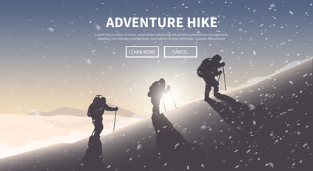 hiking: Flat vector banner on the theme of Climbing, Trekking, Hiking, Mountaineering. Extreme sports, outdoor recreation, adventure in the mountains, vacation. Achievement. The Alps