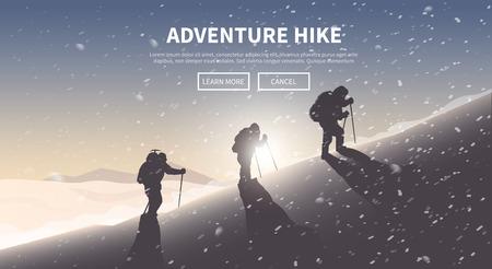 stijger: Flat vector banner op het thema van Klimmen, Trekking, wandelen, bergbeklimmen. Extreme sporten, openlucht recreatie, avontuur in de bergen, vakantie. Prestatie. De Alpen Stock Illustratie