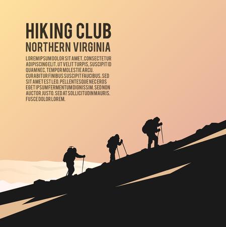 fondo simple del vector en el tema de Escalada, trekking, senderismo, montañismo. Los deportes extremos, actividades al aire libre, aventura en la montaña, vacaciones. Logro. Los Alpes.