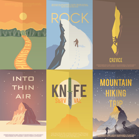 survival knife: Set of flat vector advertising posters on the theme of Climbing, Trekking, Hiking, Walking. Sports, outdoor recreation, adventures in nature, vacation.Vintage flat design.