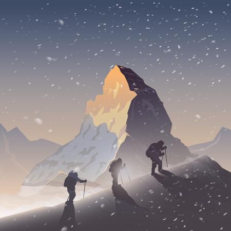 Vecteur de fond sur le thème de randonnées, trekking, randonnée, alpinisme. Sports extrêmes, loisirs de plein air, l'aventure dans les montagnes, vacances. Exploit. Le Cervin. Double exposition Vecteurs