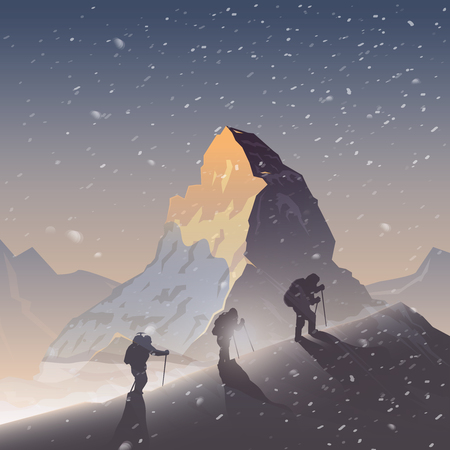 Vector background on the theme of Climbing, Trekking, Hiking, Mountaineering. Extreme sports, outdoor recreation, adventure in the mountains, vacation. Achievement. The Matterhorn. Double exposure Çizim