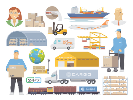 Set of flat vector elements on the theme of Logistics, Warehouse, Freight, Cargo Transportation. Storage of goods, Insurance. Modern flat design. Vettoriali