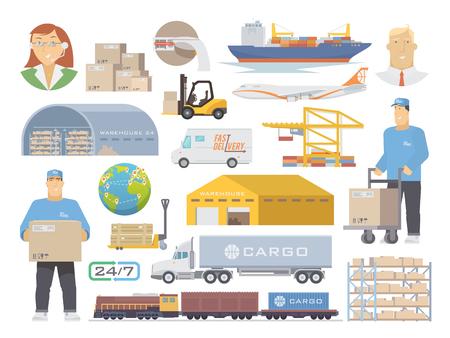 Zestaw płaskich elementów wektorowych na temat logistyki, magazynu, fracht, Przewóz ładunków. Składowanie towarów, Ubezpieczenia. Nowoczesna płaska.
