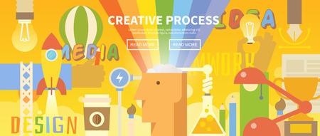Vector web banner en el tema del proceso creativo. Creatividad. Idea genial. Trabajo en equipo. Moderno diseño plano.
