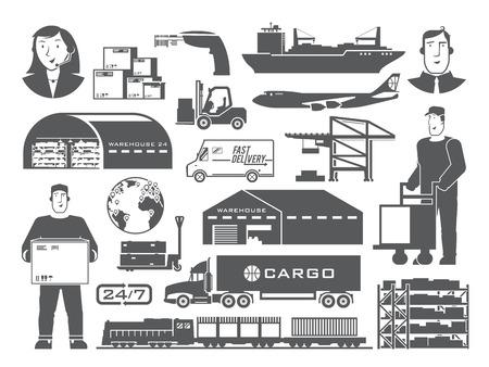 Ensemble d'éléments vectoriels en noir et blanc sur le thème de la logistique, Entrepôt, Fret, Transport des marchandises. Stockage de marchandises, l'assurance. design plat moderne. Banque d'images - 50592459