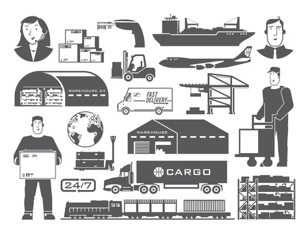 white goods: Set of black and white vector elements on the theme of Logistics, Warehouse, Freight, Cargo Transportation. Storage of goods, Insurance. Modern flat design.