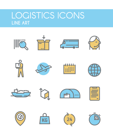 freight transportation: Set of line vector icons on the theme of Logistics, Warehouse, Freight, Cargo Transportation. Storage of goods, Insurance. Modern flat design.