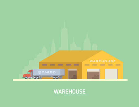 Vector illustration on the theme of Logistics, Warehouse, Freight, Cargo Transportation. Storage of goods, Insurance. Modern flat design.