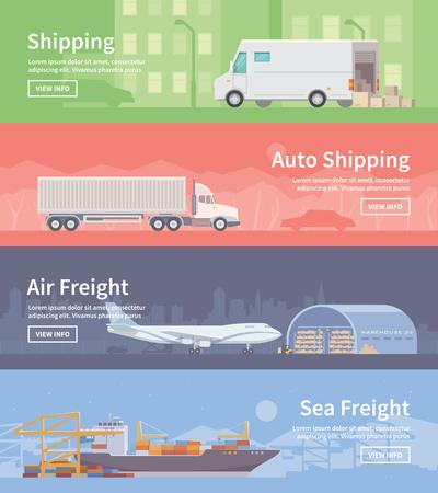 Conjunto de banderas de la tela vector plana sobre el tema de logística, almacén, carga, transporte de carga. Almacenamiento de mercancías, Seguros. envío automático. flete aéreo. El transporte marítimo. Moderno diseño plano.