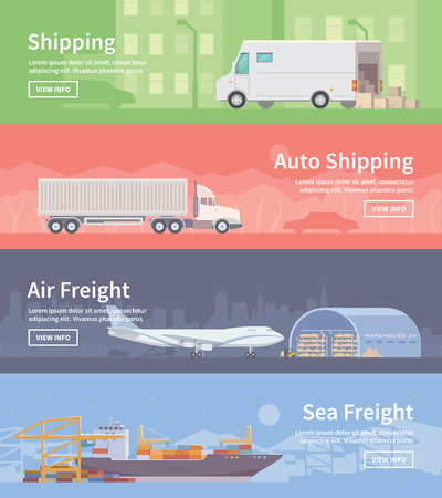 Set of flat vector web banners on the theme of Logistics, Warehouse, Freight, Cargo Transportation. Storage of goods, Insurance. Auto shipping. Air freight. Sea freight. Modern flat design. Ilustração