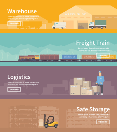 goods train: Set of flat vector web banners on the theme of Logistics, Warehouse, Freight, Cargo Transportation. Storage of goods, Insurance. Freight train. Save storage. Modern flat design.