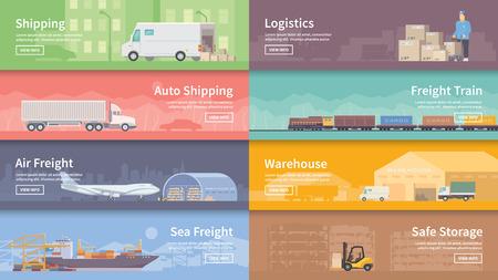 transportation: Set di appartamento vettore banner web sul tema della logistica, magazzino, merci, Trasporto delle merci. Deposito di merci, assicurazione. design piatto moderno.