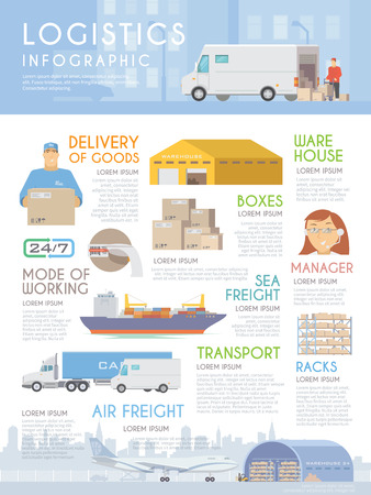 man in air: Vector web infographic on the theme of Logistics, Warehouse, Freight, Cargo Transportation. Storage of goods, Insurance. Modern flat design. Illustration