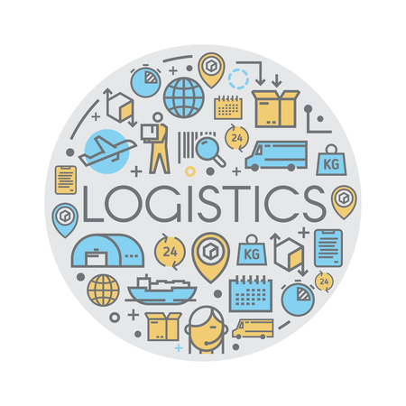 freight transportation: Line vector illustration on the theme of Logistics, Warehouse, Freight, Cargo Transportation. Storage of goods, Insurance. Modern flat design.