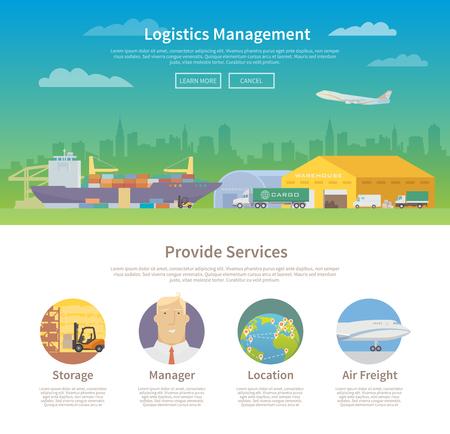 Una página de la plantilla de diseño web en el tema de logística, almacén, carga, transporte de carga. Almacenamiento de mercancías, Seguros. Moderno diseño plano. Foto de archivo - 50592469