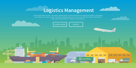 Vector web banner on the theme of Logistics, Warehouse, Freight, Cargo Transportation. Storage of goods, Insurance. Maritime port. Save storage. Modern flat design.