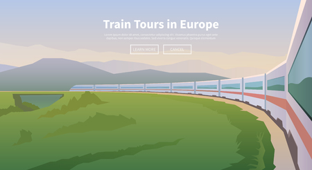 Flat vector web banner on the theme of travel by train, high speed train, vacation, landscape, view from the window of the train, railway, adventure.