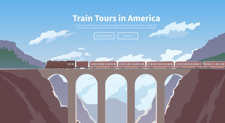 Flat vector web banner on the theme of travel by train, high speed train, vacation, mountain landscape, railway, adventure. The bridge, mountain railway. Stylish modern flat design.