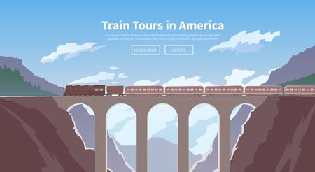 Flat vector web banner on the theme of travel by train, high speed train, vacation, mountain landscape, railway, adventure. The bridge, mountain railway. Stylish modern flat design. Illustration