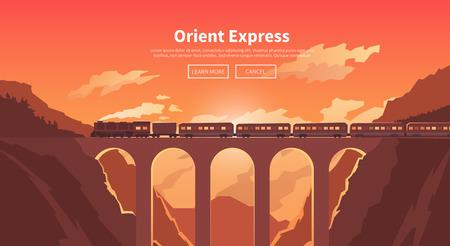 鉄道、蒸気機関車、休暇、山の風景、鉄道、冒険の旅をテーマに平面ベクトル web バナー。夕焼け空。登山鉄道、橋スタイリッシュなモダンなフラッ