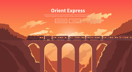 Flat vector web banner on the theme of travel by train, steam locomotive, vacation, mountain landscape, railway, adventure. Sunset sky. The bridge, mountain railway. Stylish modern flat design.