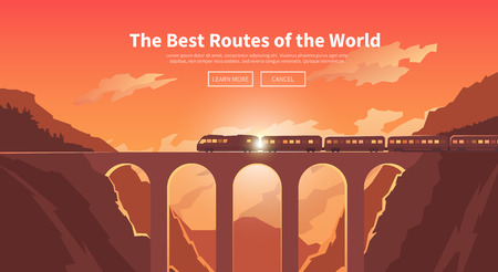 trains: Flat vector web banner on the theme of travel by train, high speed train, vacation, mountain landscape, railway, adventure. Sunset sky. The bridge, mountain railway. Stylish modern flat design. Illustration