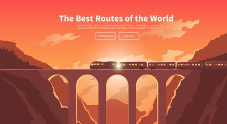 Piatto vettore banner web sul tema del viaggio in treno, treno ad alta velocità, vacanza, paesaggio di montagna, ferrovia, avventura. cielo al tramonto. Il ponte, ferrovia di montagna. Design elegante e moderno appartamento.