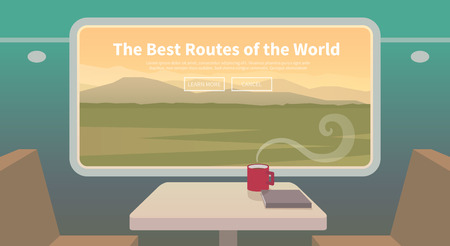 Flat vector web banner on the theme of travel by train, high speed train, vacation, mountain landscape, railway, adventure. Sunset sky. The bridge, mountain railway. Stylish modern flat design. Illustration