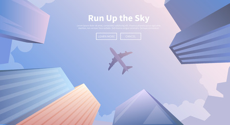 on off: Flat vector web banner on the theme of travel by airplane, vacation, adventure. Airplane flying over business skyscrapers, high-rise buildings. Transport, transportation, travel. Modern flat design.