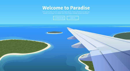 Flat vector web banner on the theme of travel by airplane, vacation, adventure. Airplane is landing in a tropical Paradise. Transport, transportation, travel. Modern flat design. Stock Illustratie