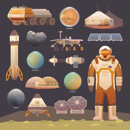 Conjunto de elementos vectoriales planos sobre el tema de la astronomía, exploración espacial, la colonización de Marte, la luna, Europa y Titán. aventura espacial. Las primeras colonias. Terraformación. Moderno diseño plano.