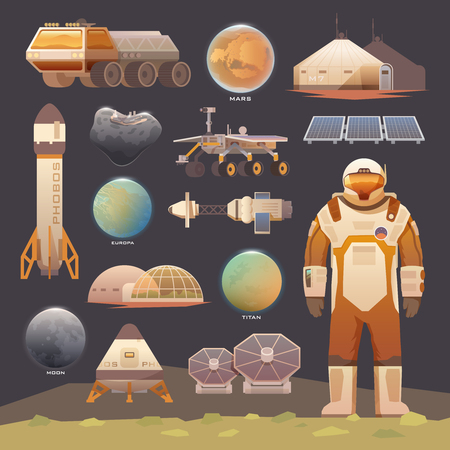 Set of flat vector elements on the theme of astronomy, space exploration, colonization of Mars, moon, Europa and Titan. Space adventure. The first colonies. Terraforming. Modern flat design. Ilustração
